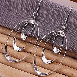 925 Sterling Silver Plated Ellipse Earrings NWT